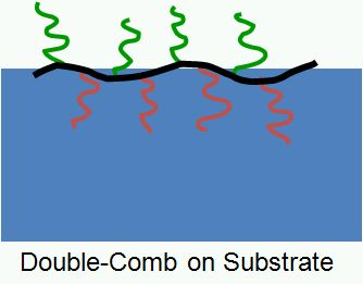"Scheme 2.1: Schematic depiction of a ""Double Comb"" polymer architecture and a possible arrangement of a Double Comb Polymer at a liquid interface"